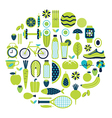 Healthy lifestyle icon set in green colour vector image