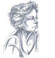 Hand-drawn portrait of white-skin sad woman face vector image