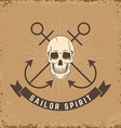 Sailor spirit Skull with anchors on grunge vector image