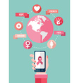 Breast cancer mobile app flat icons infographic vector image