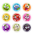 funny bright round stickers with plant characters vector image
