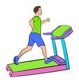 Man running on a treadmil icon cartoon vector image