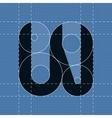 Round engineering font Symbol W vector image
