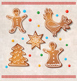 set of realistic gingerbread cookies - rooster vector image