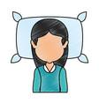 woman sleeping on pillow vector image
