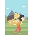 Woman carrying house vector image