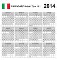 Calendar 2014 Italia Type 16 vector image vector image