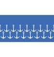Anchors blue and white horizontal border seamless vector image vector image