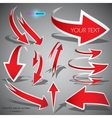 red arrows on grey background vector image vector image