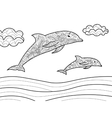 Dolphins coloring book for adults vector image