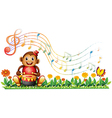 A monkey with a drum at the garden vector image