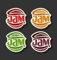 set simple fruits jam labels vector image