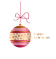 xmas glass ball in red and gold colors vector image