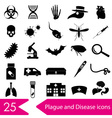 plague and disease theme simple black icons vector image