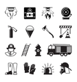 Firefighter black icons vector image