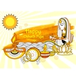 Happy Chhath Puja Holiday background for Sun vector image