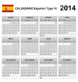 Calendar 2014 Spain Type 16 vector image