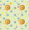 pattern with cartoon cute toy baby lion vector image