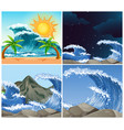ocean scenes with big waves day and night vector image vector image