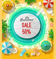 Summer sale announcement on beach vector image