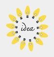 Creative idea in bulbs shape idea concept vector image