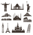 Travel icon set silhouettes vector image
