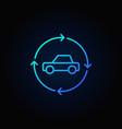 car in circular arrows blue line icon vector image