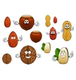 Cartoon isolated funny nuts characters vector image