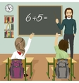 male teacher writing mathematic task vector image