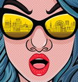 Retro 70s fashion women with sunglasses vector image