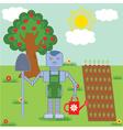 robot in the garden vector image