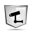 video surveillance symbol icon shield steel vector image