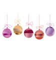 xmas glass balls set in red and gold colors vector image