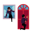 thief burglar breaking in house through front vector image