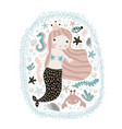 cute with mermaidseahorse crab and vector image