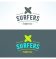 surfing logo with surfboards Surfing shop vector image