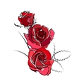 Stylized red roses isolated on white background vector image
