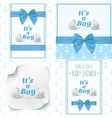 Set of four templates for baby boy shower vector image