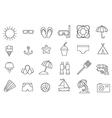 black resort icons set vector image