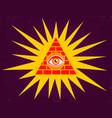 Pyramid with eye vector image
