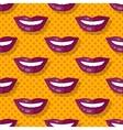 Seamless Pattern Smiling Lips Teeth on Polka Dot vector image