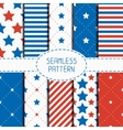 Set of geometric patriotic seamless pattern with vector image