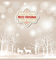 snow winter landscape deers merry christmas card vector image