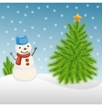 Snowman and Christmas tree in winter vector image