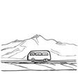 travel bus hand drawn road near vector image
