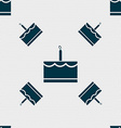 Birthday cake icon sign Seamless pattern with vector image