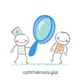 ophthalmologist looking through a magnifying glass vector image