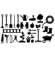 set black garden tools vector image