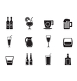 Silhouette different kind of drink icons vector image vector image