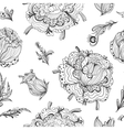 Black and White Gothic Floral Pattern vector image